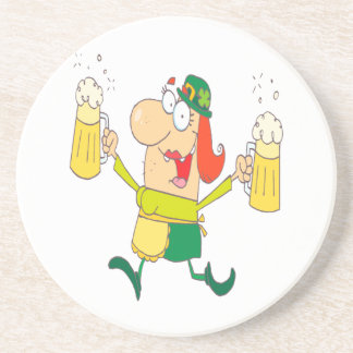 funny leprechaun lady serving beer coaster