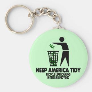 Funny Leprechauns Basic Round Button Key Ring
