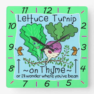 Funny Lettuce Turnip Thyme Vegetable Pun Cartoon Clocks