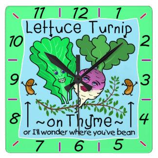 Funny Lettuce Turnip Thyme Vegetable Pun Cartoon Square Wall Clock