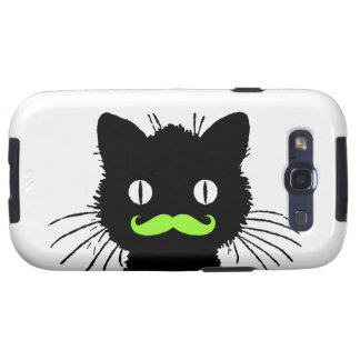 FUNNY LIME GREEN MUSTACHE VINTAGE BLACK CAT GALAXY SIII COVERS