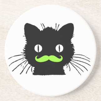 FUNNY LIME GREEN MUSTACHE VINTAGE BLACK CAT COASTER