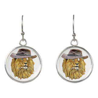 Funny Lion Cat Earrings