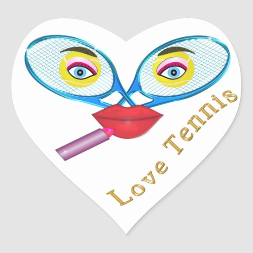 Funny Lipstick Tennis Face Love Tennis Stickers