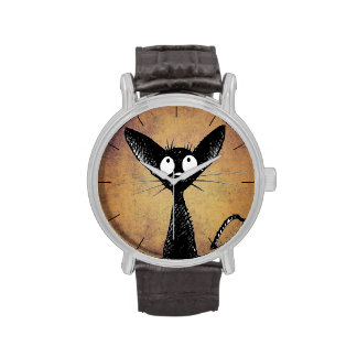 Funny Little Black Cat Wristwatches