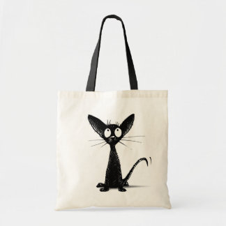 Funny Little Black Oriental Cat Tote Bag