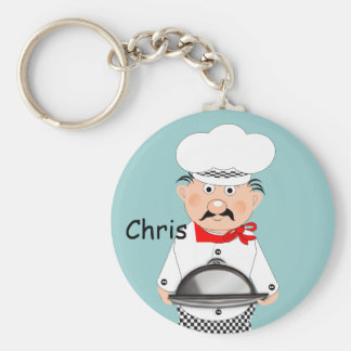 Funny Little Chef Theme Basic Round Button Key Ring