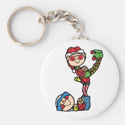funny little christmas elves keychain