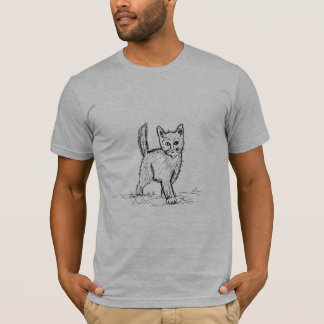 Funny Little Cute Cat Drawing T-Shirt