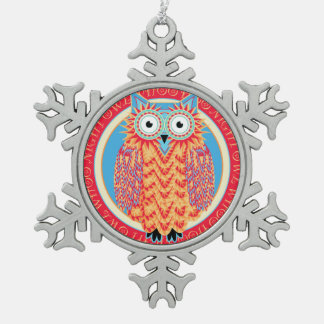Funny Little Owl Cute and Colorful Christmas Pewter Snowflake Decoration