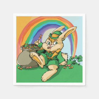 Funny Little Saint Patrick Rabbit Disposable Serviette