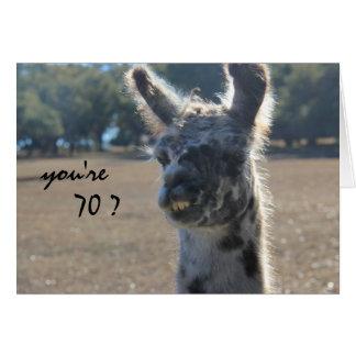 Funny Llama Birthday, 70th, Over the Hill Card