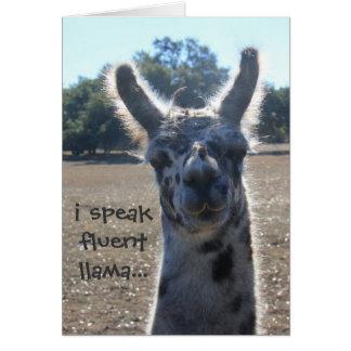 Funny Llama Birthday Card, I speak fluent llama... Card