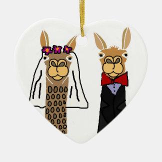Funny Llama Bride and Groom Wedding Art Ceramic Heart Decoration