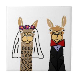 Funny Llama Bride and Groom Wedding Art Small Square Tile
