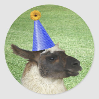 Funny Llama in Party Hat stickers