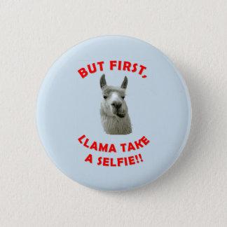 Funny llama pin badge
