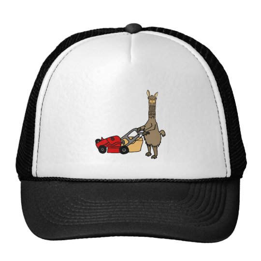 Funny Llama Pushing Lawn Mower Cartoon Cap
