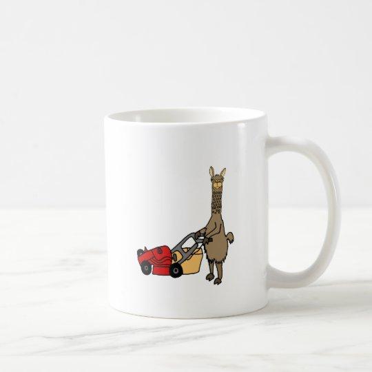 Funny Llama Pushing Lawn Mower Cartoon Coffee Mug
