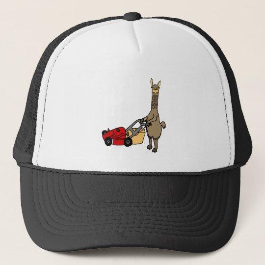 Funny Llama Pushing Lawn Mower Cartoon Trucker Hat