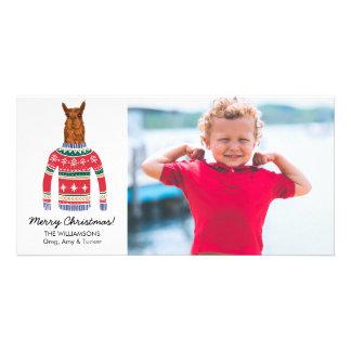 Funny Llama Ugly Christmas Sweater Custom Photo Card
