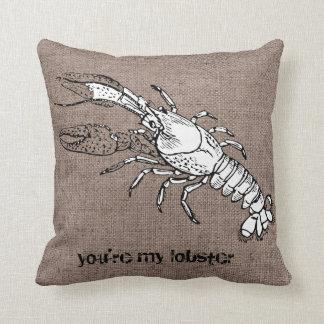 Funny Lobster Shell Conch Burlap Beach Bum Pillow