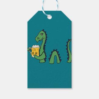 Funny Loch Ness Monster Drinking Beer Cartoon Gift Tags