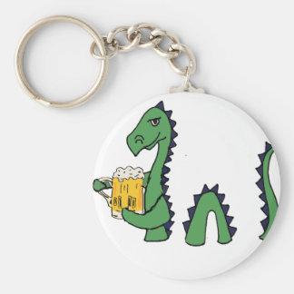 Funny Loch Ness Monster Drinking Beer Cartoon Key Ring