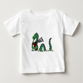 Funny Loch Ness Monster Playing Bagpipes Baby T-Shirt
