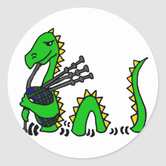 Funny Loch Ness Monster Playing Bagpipes Sticker