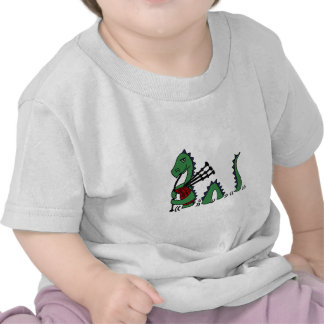 Funny Loch Ness Monster Playing Bagpipes T-shirts