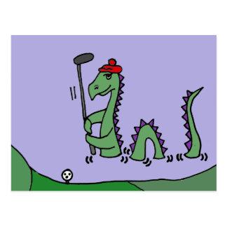 Funny Loch Ness Monster Playing Golf Postcard
