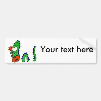 Funny Loch Ness Monster Playing Guitar Art Bumper Sticker