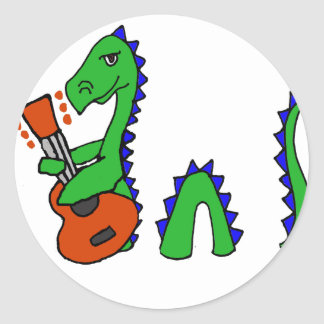 Funny Loch Ness Monster Playing Guitar Art Classic Round Sticker