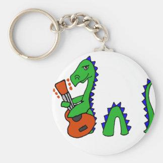 Funny Loch Ness Monster Playing Guitar Art Key Ring
