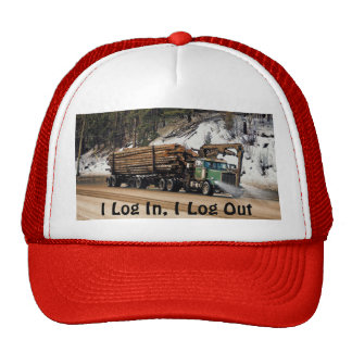 Funny Log In - Log Out Logging Trucker Art Cap