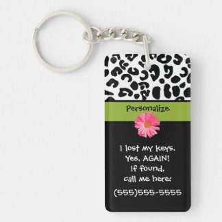 Funny Lost Keys Leopard Print Double-Sided Rectangular Acrylic Key Ring