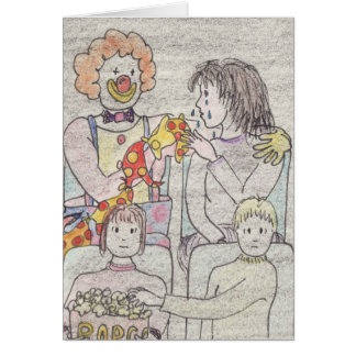 Funny love and romance clown novelty art card