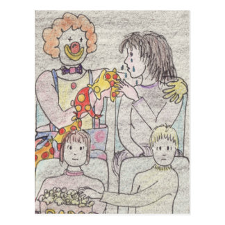 Funny love and romance clown novelty art postcard