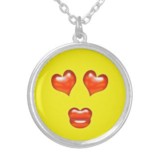 Funny Love Kiss Emoji Smiley Silver Plated Necklace