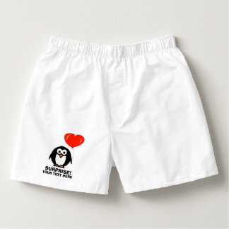 Funny love penguin boxer shorts underwear for men boxers