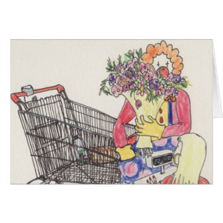 Funny love & Romance Clown novelty art card