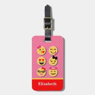 Funny Luggage Tag with emoji characters