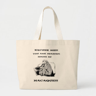 Funny Macaque T Shirt Tote Bags