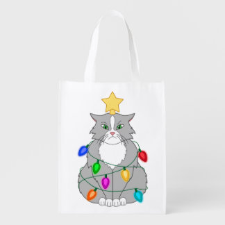 Funny Mad Christmas Tree Cat in Colorful Lights Reusable Grocery Bag