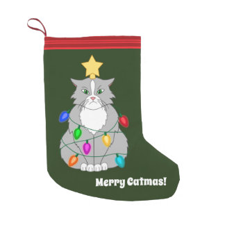 Funny Mad Christmas Tree Cat in Colorful Lights Small Christmas Stocking