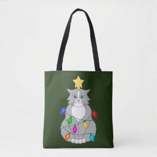 Funny Mad Christmas Tree Cat in Colorful Lights Tote Bag