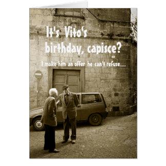 Funny mafia birthday customisable greeting card
