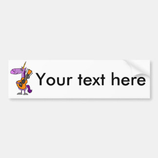 Funny Magical Unicorn Playing Guitar Bumper Sticker