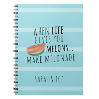 Funny Make Melonade Life Quote Personalized Spiral Note Book